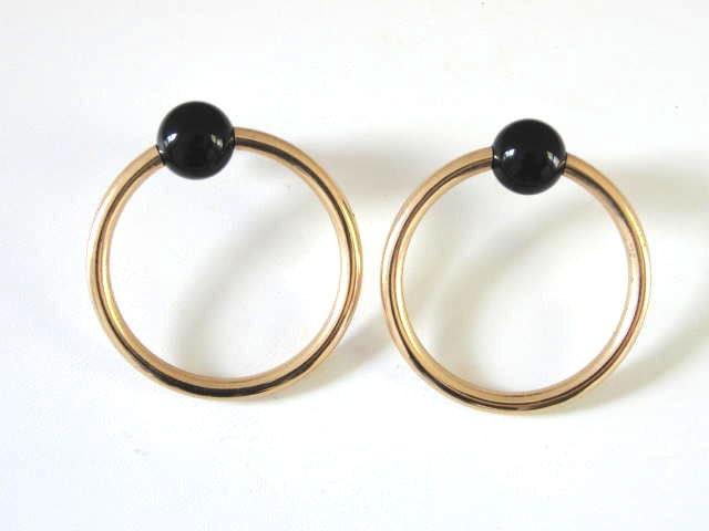 14k gold hoop earrings black onyx pierced by