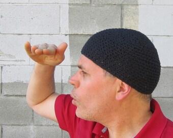 men's cotton kufi/ simply black crochet
