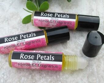 Rose Petals Roll On Perfume, classic tea rose fragrance, concentrated vegan formula