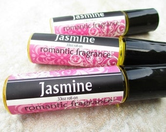 Jasmine rollerball Perfume, concentrated sweet floral scent, convenient roll on glass bottle, 1/3oz