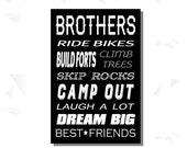 Brothers Sign, Brothers Wall Art, Brothers Print, INSTANT DOWNLOAD,Best Friends, 3 sizes, Instant Download, Bedroom, Playroom, Wall Decor