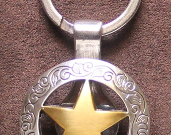 Engraved Border Ranger Star Concho Key Ring