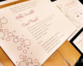 Fun Bubbles Circle Champagne Custom Unique Wedding Invitation Playful Simple Spring Summer Fall Winter Liner Mordern A Little Bubbly Design