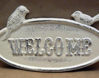 Bird Welcome Cast Iron Sign Shabby Chic Creamy Off White Distressed Metal Double Bird Wall Plaque
