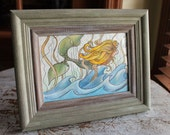 "Original Framed Watercolor 5"" x 7"" Whimsical Ocean and Mermaid"