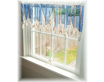 Seaside Seabreeze Stained Glass Window Treatment Valance Curtain