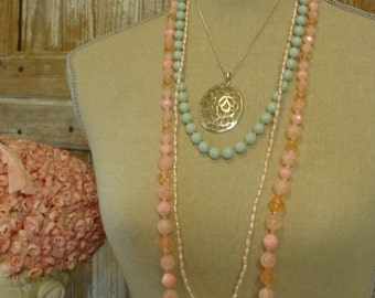 Vintage Shabby Chic Pink, Blue and Silver Necklaces  Lot