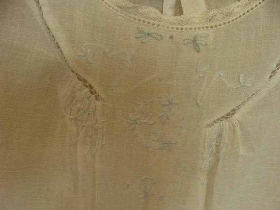 Antique Heirloom Handmade Embroidered White Cotton Baby Girl Dress