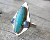 Larimar and Labradorite Sterling Silver Ring, Turquoise and Grey Shield Ring, Tribal Ring