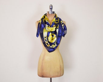 Vintage 80s Navy Blue & Gold Chain Print Scarf Baroque Scarf Baroque Print Sheer Stripe Large Slouchy Oversize Square Neck Scarf Hipster
