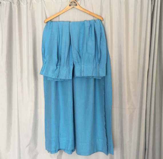 Blue Curtains Vintage Drapes Set Of Two By Cliftonsupplycompany