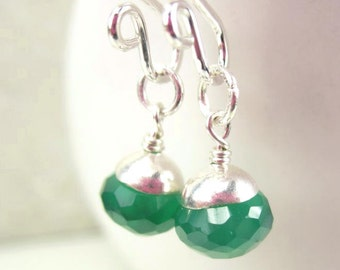 Green Gemstone Earrings, Sterling Silver Earring Charms, Gemstone Charms, Green Onyx, Interchangeable Dangles