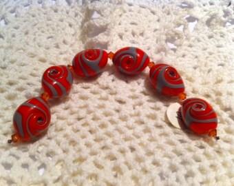 Red Swirl Beads