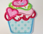 Fluffy Valentine Cupcake - Iron On or Sew On Embroidered Custom Made Applique
