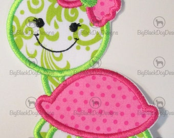 Girl or Boy Turtle - Iron On or Sew On Embroidered Applique