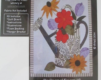 Watering Can Flowers Artsi2 Quilt Boards - No Sew - DIY - Wallhanging