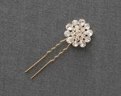 Crystal Wedding Hair Pins | Crystal Hairpins | Rhinestone Bridal Hair Comb [Lisette Hairpin: Silver]