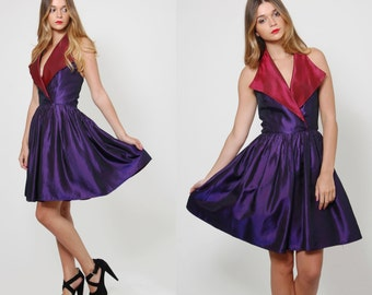 Vintage 80s HALTER Party Dress WIDE Collar Mini Dress Purple BABYDOLL Cocktail Dress Mini Prom Dress