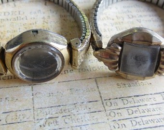 Vintage  Watch parts - watch Cases with band -  Steampunk - Scrapbooking  E87