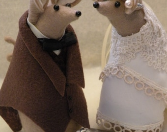 Wedding Cake Topper of Felt Mice
