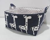 """Fabric Diaper Caddy - Storage Container Basket - 11""""x11"""" Organizer Bin - Tote Bag - Nursery Storage - Baby Gift - Navy Giraffes Canvas"""