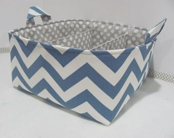"Diaper Caddy - Fabric Storage Basket - 11""x11"" Organizer Bin - Storage box - Diaper Bag -Baby Gift- Nursery Decor -Denim Blue Chevron Zigzag"