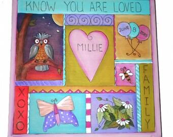 "CHILDRENS BOX - Keepsake Box - 10"" x 10"" x 5"" tall - Wedding card box - Custom - Personalized - Wedding gift - Bride and Groom - Whimsical"