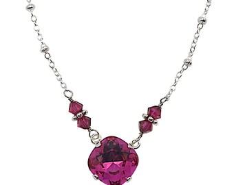 Swarovski Fuschia Large Stone Cushion Cut Pendant Jewelry Necklace 4470 (12mm)