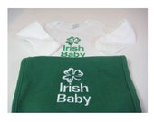 "Irish Baby Set -White Bodysuit with Green Bib - Embroidered with a Shamrock and ""Irish Baby"""