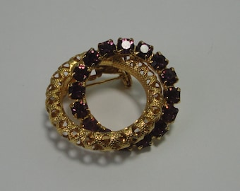 Gold tone Filigree with Amethyst Rhinestones Interlock Brooch,Pin