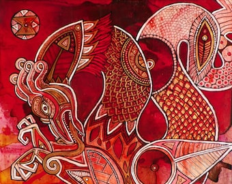 Crimson Dragon Fantasy Art Print by Lynnette Shelley