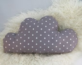 Silver Metallic Grey Cloud Polkadot Cloud Pillow - Small Size - Travel Pillow - Sleepover Pillow