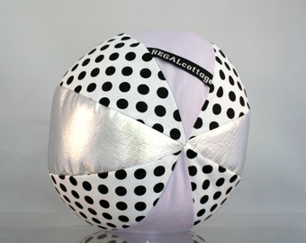 Lavender Rattle Ball with Polkadots in Black and White - Baby Toddler Toy -Organic Cotton and Metallic Vegan Leather