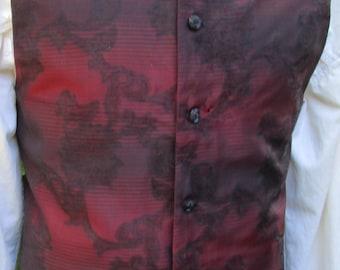 "Mens Red & Black Brocade Waistcoat/ Vest Rococo Regency 37"" (V26)  FREE SHIPPING!!"
