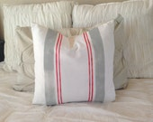 French Grainsack Linen Pillow  Farmhouse/Coastal/Nautical/Beachy