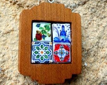 Portugal 4 Antique Azulejo Majolica Tile Replica NECKLACE - WOOD,  Aveiro, Lisbon, Coimbra and Valega