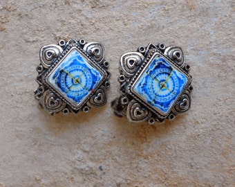 Portugal Antique Azulejo Tile Replica CLIP on EARRINGS - 17th Century Blue