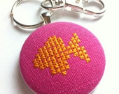 Fish stitched key chain, free US shipping