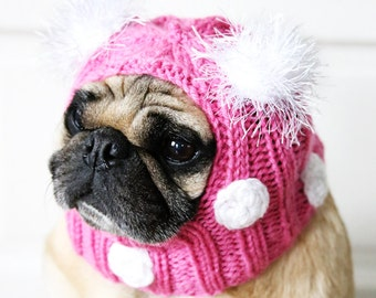 Polka-dot Dog Hat- Pug Hat - Dog Clothing - Pug Clothing