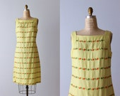 Vintage 1960s Dress / Sheath Dress / 60s Dress / Sleeveless / Yellow Summer Dress