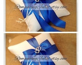 Romantic Satin Elite Ring Bearer Pillow with Two Hearts Accent...You Choose the Colors...SET OF 2...shown in ivory/royal blue