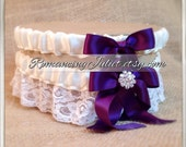 Lovely Vintage Style Ivory Lace Garter Set with Eggplant and Vibrant Crystal Accents...