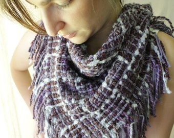 Handwoven Scarf, Triangle, Woven Shawl, Cowl