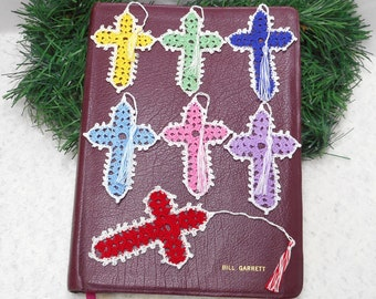 Handmade Bible Marks. Crochet, supplies, baptism, christening, gift, variety of colors, dainty. Pick your favorite.