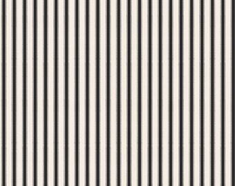 SUMMER SALE - 3 yards - Happy Haunting - Stripe in Cream and Black - Sku C4674 - Deena Rutter for Riley Blake Designs