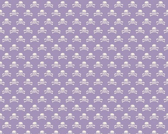 SUMMER SALE - 1 7/8 Yards - Happy Haunting - Skull in Purple - Sku C4675 - Deena Rutter for Riley Blake Designs