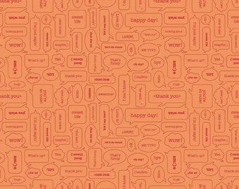 BLACK FRIDAY SALE - Modern Minis - 1 yard - Texting - Sku C4767 Orange - by Lori Holt for Riley Blake Designs