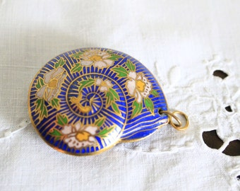 Cobalt Blue and Floral Nautilus Pendant