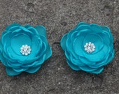 Turquoise Blue Colored Flower Hair Pins - Brooches - Shoe Clips Set of 2