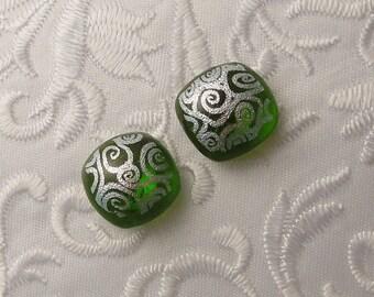 Green Earrings - Dichroic Fused Glass Earrings - Dichroic Earrings - Stud Earrings - Post Earrings - Small Earrings 1614